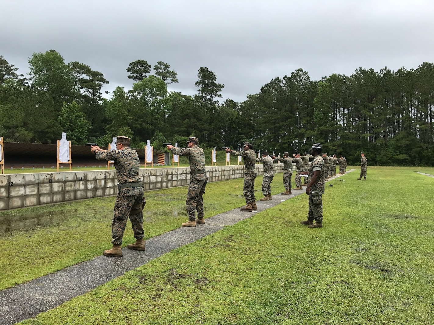 On May 21, 2020 Marines and Sailors assigned to Marine Corps Engineer School used an annual training day to conduct a pistol range at Stone Bay. Qualifying with the 9 mm pistol is an annual requirement and proficiency is tested at 7, 15, and 25 yard lines.