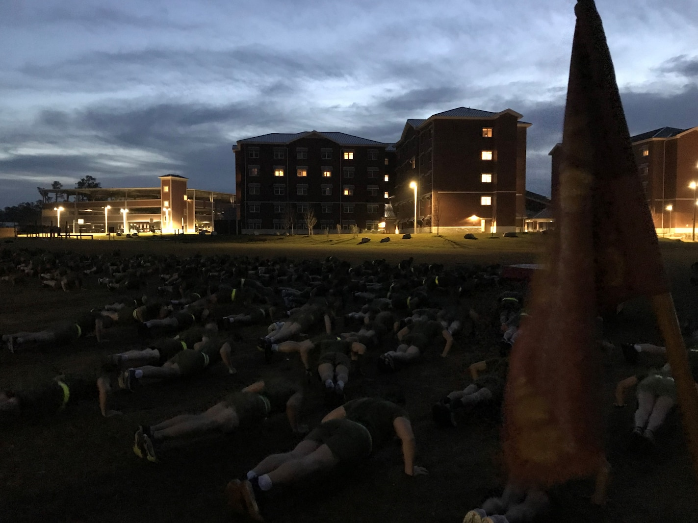 February 2020:  Permanent personnel and students assigned to Marine Corps Engineer School conduct PT prior to starting the training day.