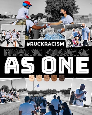 Graphic of photos from the Ruck Racism event on JBSA-Lackland hosted June 13, 2020.