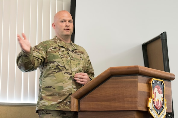 Col. Bill Annie, 167th Mission Support Group commander, makes remarks during his promotion and assumption of command ceremony, June 13, 2020, at the 167th Airlift Wing. After three years in command of the 167th Force Support Squadron, Annie moved into the 167th Mission Support Group commander position.