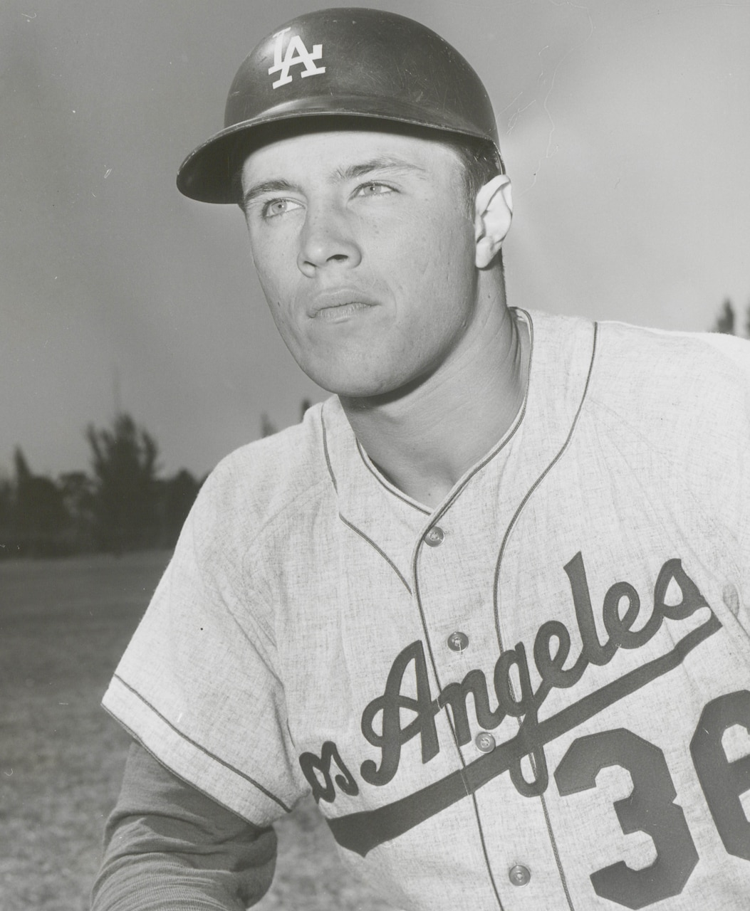Baseball player in an L.A. Dodgers uniform is pictured.