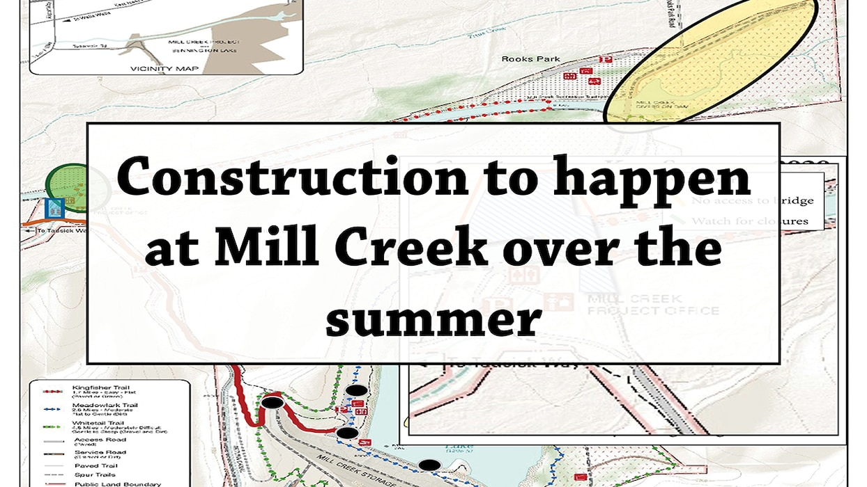 "mill creek map overlaid with text saying ""construction to happen at mill creek over the summer"""