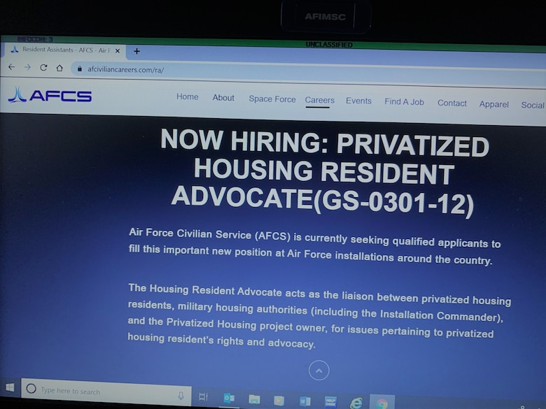 Photo showing now hiring privatized housing resident advocates