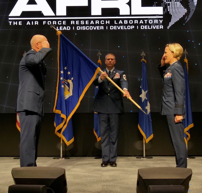 Brig. Gen. Heather L. Pringle assumes command of the Air Force Research Laboratory headquartered at Wright Patterson AFB, Ohio, from Gen. Arnold W. Bunch, commander, Air Force Materiel Command, during a ceremony June 18 at the Air Force Institute of Technology's Kenney Hall Auditorium. The event was live-streamed on YouTube to support social distancing and allow the community to witness the ceremony. (U.S. Air Force Photo/Keith Lewis)