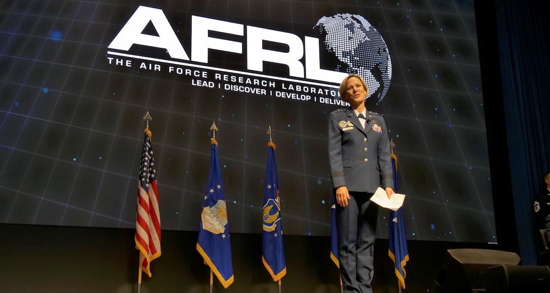 Brig. Gen. Heather L. Pringle officially assumed command of the Air Force Research Laboratory during an assumption of command ceremony at the Air Force Institute of Technology's Kenney Hall Auditorium June 18. (U.S. Air Force Photo/Keith Lewis)