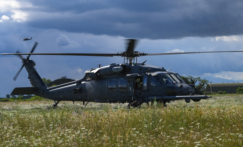 A U.S. Air Force HH-60G Pave Hawk helicopter assigned to the 56th Rescue Squadron lands at Rivolto Air Base, Italy, June 11, 2020. The 56th RQS integrates with the Guardian Angels weapon system and other special forces to support insertion, extraction and recovery of both U.S. and allied combatants. (U.S. Air Force photo by Airman 1st Class Thomas S. Keisler IV)