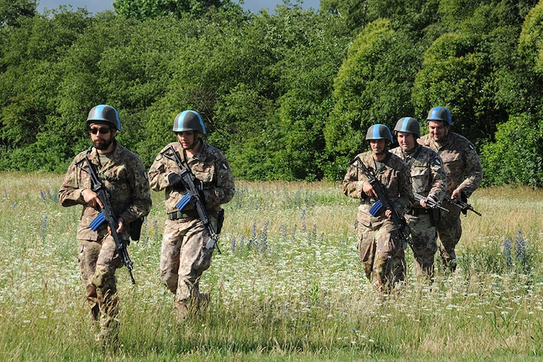 Italian Air Force members perform a perimeter patrol during an exercise at Rivolto Air Base, Italy, June 11, 2020. Italian Air Force security forces volunteers played the role of the opposing force during the exercise and were tasked with patrolling the perimeter to spot suspicious activity. (Photos by Italian Air Force 2nd Wing and U.S. Air Force)