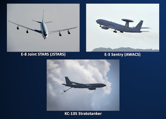 An E-3 Sentry (AWACS) and E-8 Joint STARS (JSTARS), and a KC-135 Stratotanker aerial refueling aircraft.