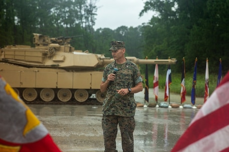 U.S. Marine Corps Col. David Wallis gives remarks during the 2d Tank Battalion change of command ceremony at Camp Lejeune, North Carolina, June 12, 2020. During the ceremony, Lt. Col. Charles D. Nicol relinquished command of the unit to Lt. Col. Matthew A. Dowden. (U.S. Marine Corps photo by Cpl. Ashley McLaughlin)