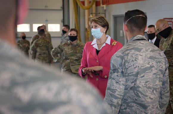 SECAF speaks with 509th Civil Engineer Squadron fire department members