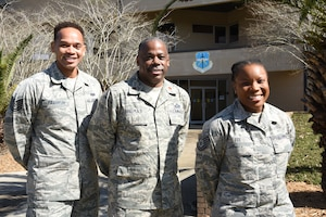 (left to right) Tech. Sgt. Lorenzo Franklin, Major Terry Thomas and Tech Sgt. Dominique Fox are the Equal Opportunity team members of the 403rd Wing at Keesler Air Force Base, Biloxi, Mississippi. (U.S. Air Force photo by Tech. Sgt. Michael Farrar)