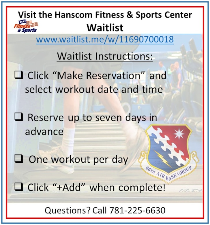 The Hanscom Fitness and Sports Center will be reopening only to active-duty military and Guard and Reserve members on active duty orders during Phase 2A. (U.S. Air Force graphic by Lance Beebe)