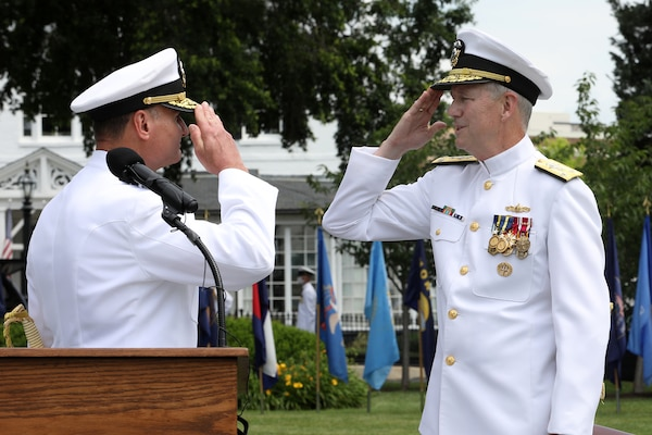 Vice Admiral William J. Galinis relieves Vice Admiral Thomas J. Moore as the Commander of Naval Sea Systems Command (NAVSEA) in a Change of Command Ceremony in Leutze Park at the Washington Navy Yard. The event was hosted by Admiral Michael Gilday, Chief of Naval Operations, and Admiral Frank Caldwell, Director, Naval Nuclear Propulsion.