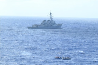 USS Lassen with embarked U.S. Coast Guard Law Enforcement Detachment team conducts enhanced counter narcotics operations in the Caribbean Sea, May 26, 2020.