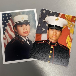 Left, Erika Hallford, right, Pvt. Larissa Hallford, are pictured in the Permanent Contact Station El Centro, Recruiting Sub-Station El Cajon, Recruiting Station San Diego. Larissa followed in her mother, Erika's, footsteps by joining the United States Marine Corps. Erika served from 1992-1996. (Courtesy Photo)