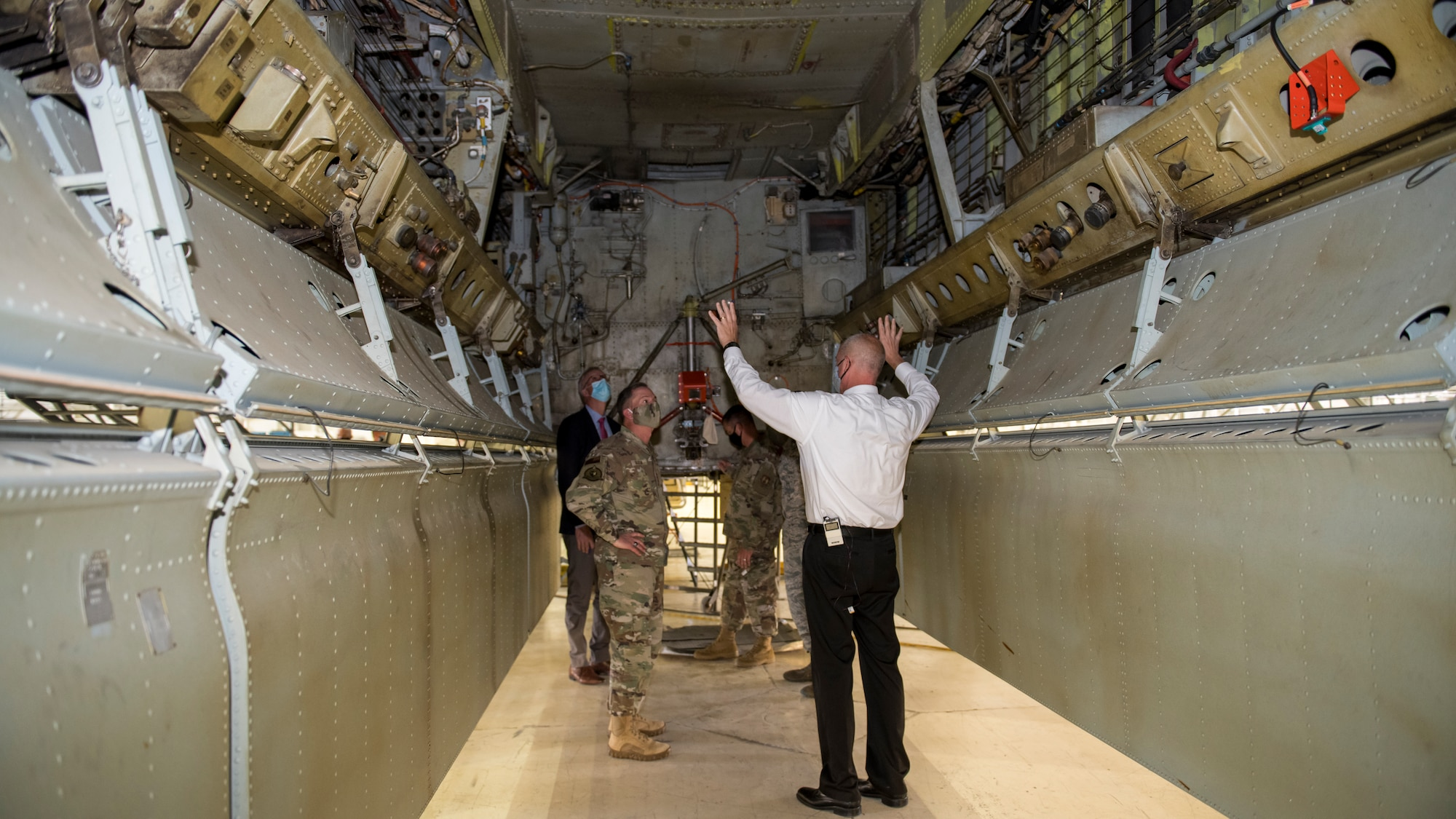 Air Force Chief of Staff Gen. David Goldfein receives a briefing on maintenance and test operations on a B-52 Stratofortress at Edwards Air Force Base, California, June 17. (Air Force photo by Giancarlo Casem)
