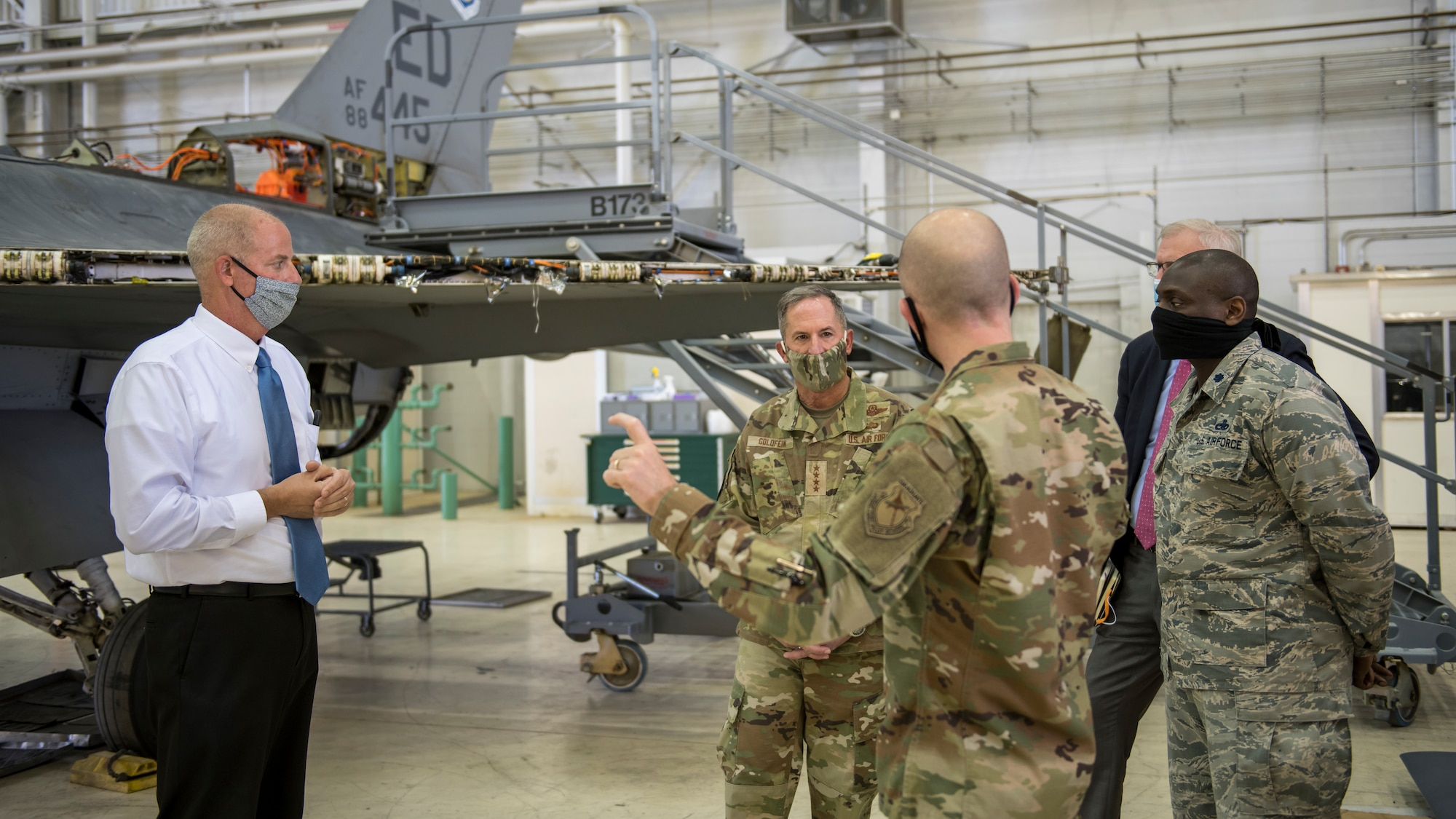 Air Force Chief of Staff Gen. David Goldfein receives a briefing on maintenance and test operations at Edwards Air Force Base, California, June 17. (Air Force photo by Giancarlo Casem)