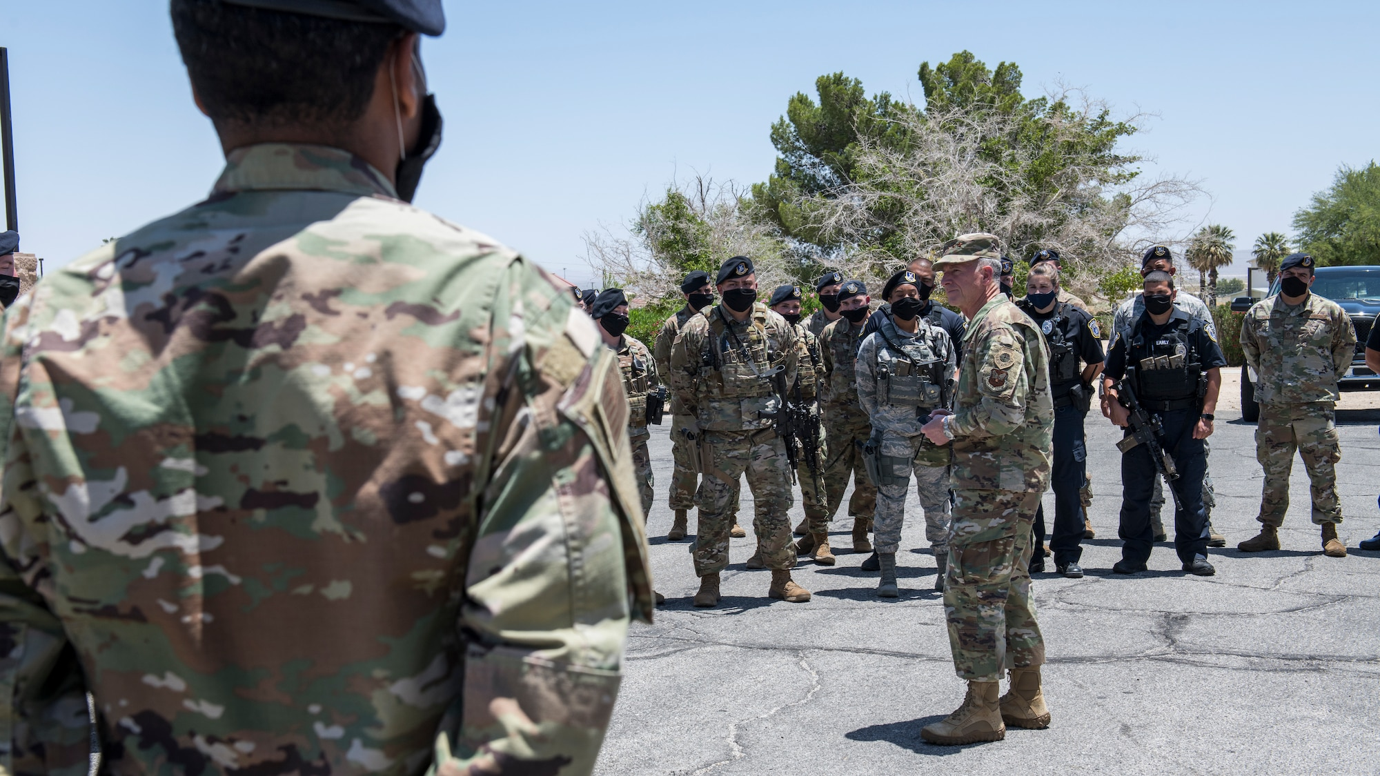 Air Force Chief of Staff Gen. David Goldfein talks to members of the 412th Security Forces Squadron prior to their Guard Mount procedures at Edwards Air Force Base, California, June 17. (Air Force photo by Giancarlo Casem)