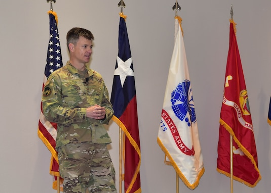 U.S. Air Force Col. Thomas Coakley, 17th Training Group commander, speaks during the 17th TRG Change of Command ceremony on Goodfellow Air Force Base, Texas, June 18, 2020. Coakley relinquished command to Col. Angelina Maguinness, incoming commander, in the time-honored tradition which is meant to introduce a new leader to the troops under their charge. (U.S. Air Force photo by Staff Sgt. Chad Warren)