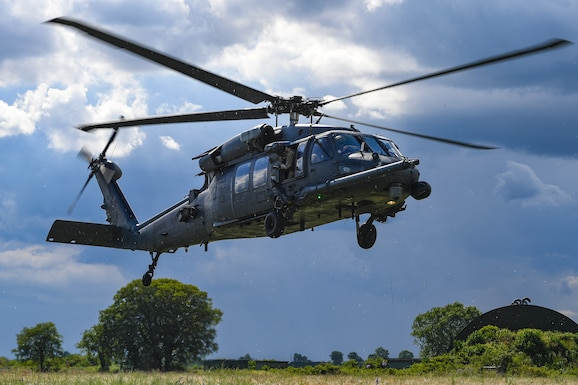 A U.S. Air Force HH-60G Pave Hawk helicopter assigned to the 56th Rescue Squadron comes in for a landing during an exercise at Rivolto Air Base, Italy, June 11, 2020. The 56th RQS provides a rapidly-deployable, worldwide combat rescue and reaction force response utilizing HH-60G Pave Hawk helicopters. (U.S. Air Force photo by Airman 1st Class Thomas S. Keisler IV)