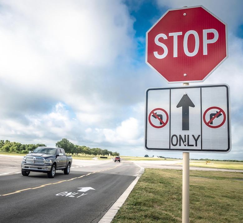 """New """"no-turn"""" signage has been added to an existing stop sign at the South ramp taxiway at Joint Base San Antonio-Randolph. Operation Echo is a 12th Operations Support Squadron effort to bring down vehicle runway incursions."""