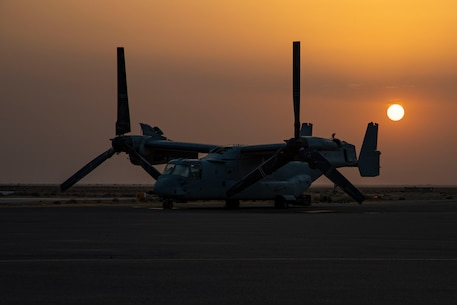 U.S. Marines with Marine Medium Tiltrotor Squadron 166 (Reinforced), serving as the Aviation Combat Element for Special Purpose Marine Air-Ground Task Force-Crisis Response-Central Command 20.2, conduct routine maintenance on a MV-22B in Kuwait, June 4, 2020.