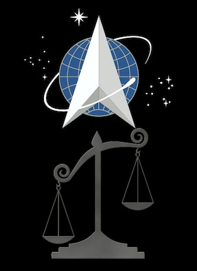 Scales of justice with the Space Force logo