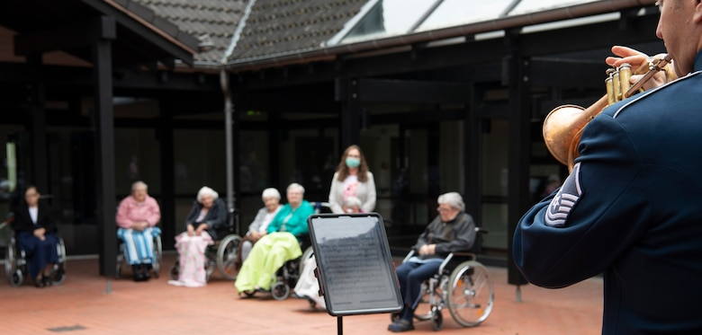 The team visited retirement homes surrounding Spangdahlem Air Base in the villages of Bitburg, Wittlich, and Landscheid, Germany, to build partnerships between the base and local communities and support those most impacted by COVID-19 restrictions
