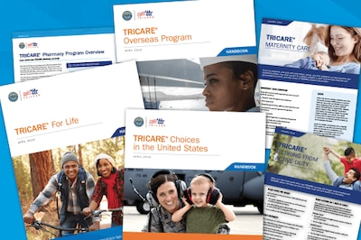 A phot of TRICARE publications covers