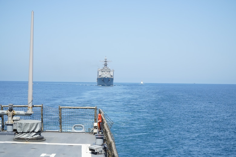 200622-N-NO901-1011 BLACK SEA (June 22, 2020) – USS Porter (DDG 78) and USS Oak Hill (LSD 51) execute maneuvering and air defense exercises with GCG Ochamchire (P-23) and GCG Dioskura (P-25) in the Black Sea, June 22, 2020. Porter, forward-deployed to Rota, Spain, is on its eighth patrol in the U.S. 6th Fleet area of operations in support of U.S. national security interests in Europe and Africa. (U.S. Navy photo by Interior Communication Electrician 2nd Class Jeffrey Abelon/Released)