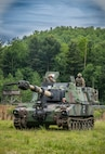 Members of the West Virginia National Guard's 1st Battalion, 201st Field Artillery (FA) drive M109 A6 Paladin Self-Propelled Howitzer at Camp Dawson, Kingwood, West Virginia, June 14, 2020. The 201st FA is conducting Field Artillery Tables 1-5 pre-certification qualifications prior to conducting live-fire qualifications later this summer.(U.S. Army National Guard photo by Edwin L. Wriston)