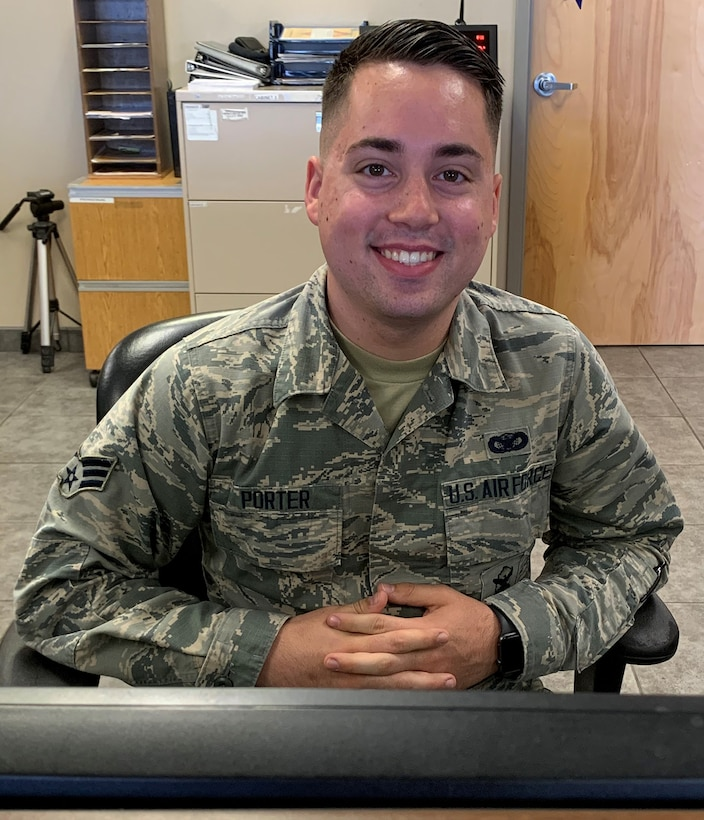 Senior Airman Adam Porter, with the 72nd Security Forces Squadron, is a Visitor Control Center badging clerk. He has been in the Air Force for three years.