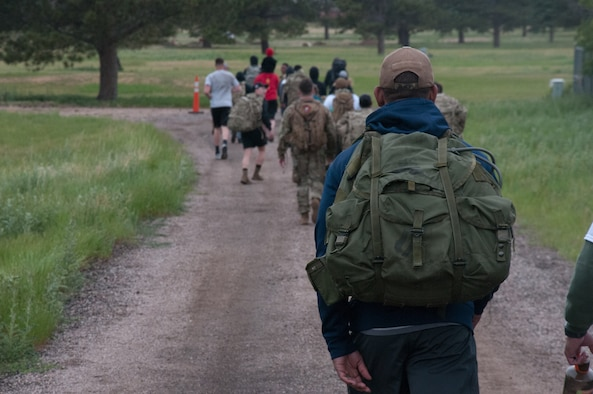 The ruck march was an event organized by 20th Air Force headquarters staff to build comradery and create a space for difficult conversations about racism and discrimination. U.S. Air Force photo by 1st Lt Ieva Bytautaite.