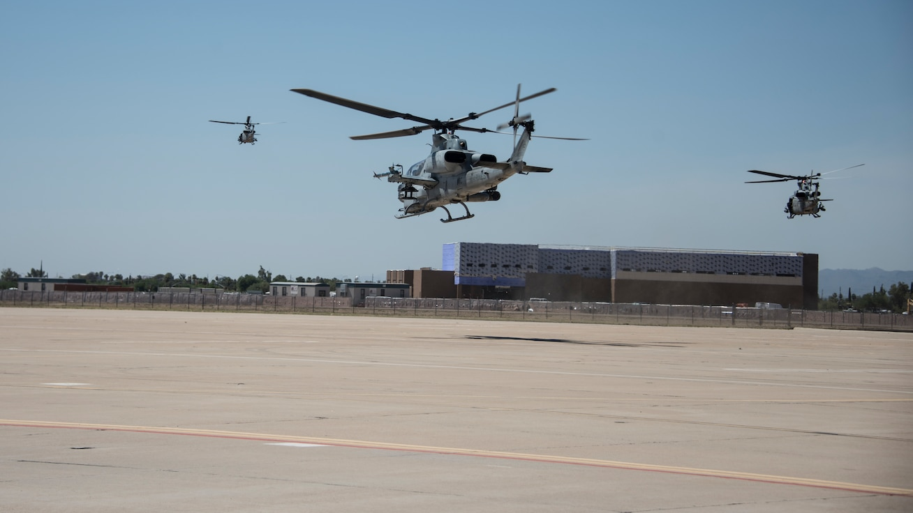 A photo of Marine helicopters taking off