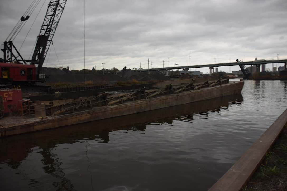 The U.S. Army Corps of Engineers Cleveland Harbor dredging project in progress in Cleveland, Ohio, November 8, 2018. The project will provide a safe and navigable channel throughout the Harbor, as well as important economic benefits.  USACE is committed to working and collaborating across the Great Lakes Navigation System to find sustainable solutions for dredged material management at their respective ports.