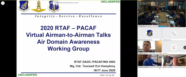 Royal Thai Air Force personnel along with Washington Air National Guard and Pacific Air Forces Airmen begin a briefing during the seventh iteration of the Airman-to-Airman Talks, June 16, 2020. Due to the Coronavirus, the annual talks took place virtually for the first time, June 15 through 18; however, that didn't stop the important discussions from being held. (Courtesy photo)