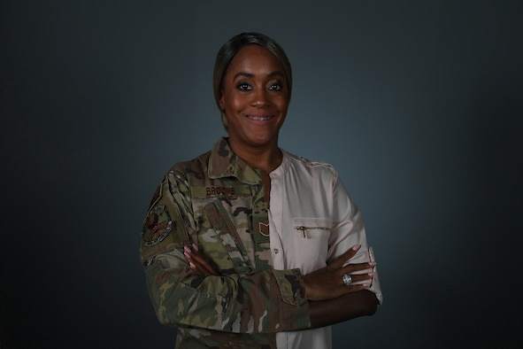 U.S. Air Force Tech. Sgt. Ebony Brooks poses for a photo at Aviano Air Base, Italy, June 18, 2020. Brooks wrote a commentary about her time in the Air Force. (U.S. Air Force photo illustration by Airman 1st Class Thomas S. Keisler IV)