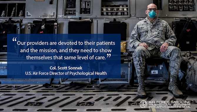 The COVID-19 pandemic can challenge the mental wellness of health workers and contribute to provider burnout. Air Force medics are cautioned to be alert for signs of numbness in themselves or colleagues, and make time for self-care and recharge. (U.S. Air Force graphic)