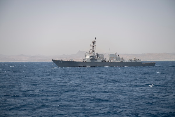 The Arleigh Burke-class guided-missile destroyer USS Nitze (DDG 94) departs Safaga, Egypt after a port visit, July 20, 2019.