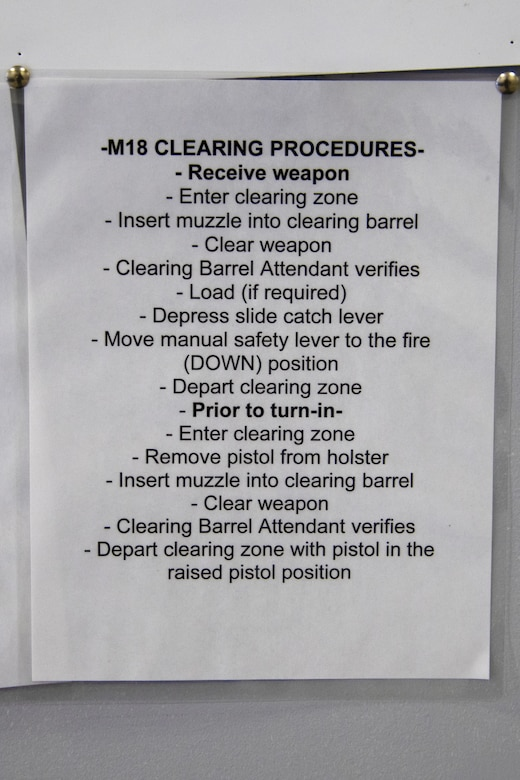 A M18 clearing procedures list hangs on a wall in the armory at Joint Base Andrews, Md., June 17, 2020. These procedures ensure the safety of everyone in and around the armory.