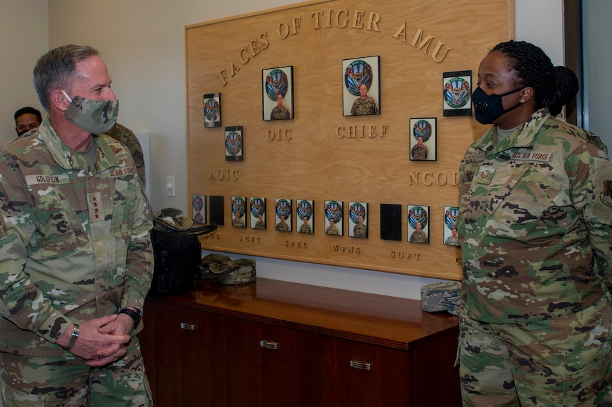 Air Force Chief of Staff Gen. David L. Goldfein speaks with an Airmen at Creech Air Force Base
