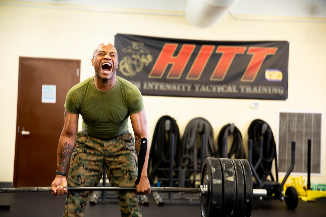 HM1 Riley Adrianyon performs a deadlift during the High Intensity Tactical Training competition at Butler Stadium aboard Marine Corps Base Quantico on June 18.