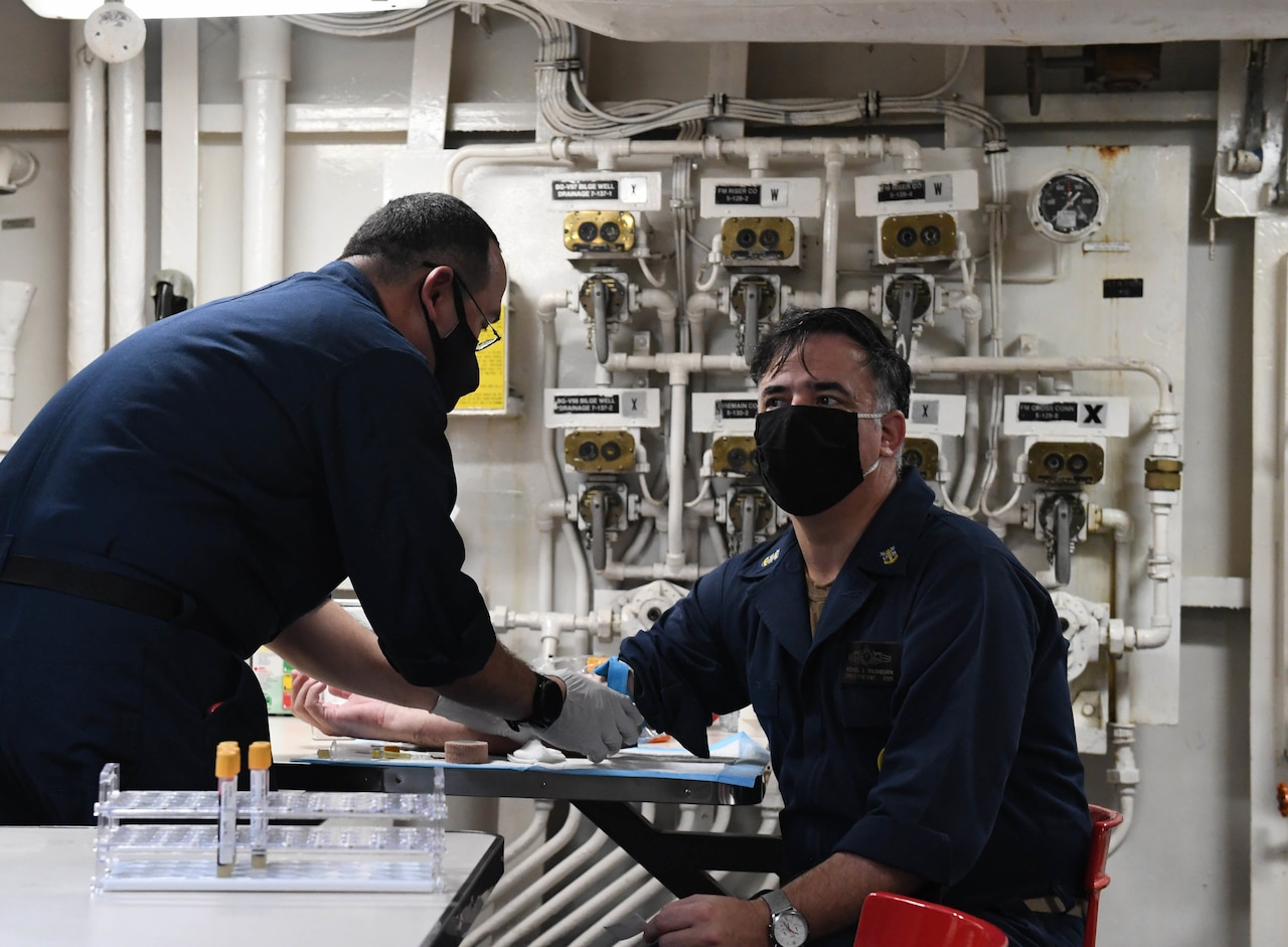 USS Theordore Roosevelt sailors being tested for COVID-19 antibodies.