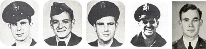 Georgia Air National Guard pilots killed in action in Korea, from left: Capt. Barney Casteel, Lt. James Collins, Capt. David Mather, Capt. John Thompson, Lt. William White.