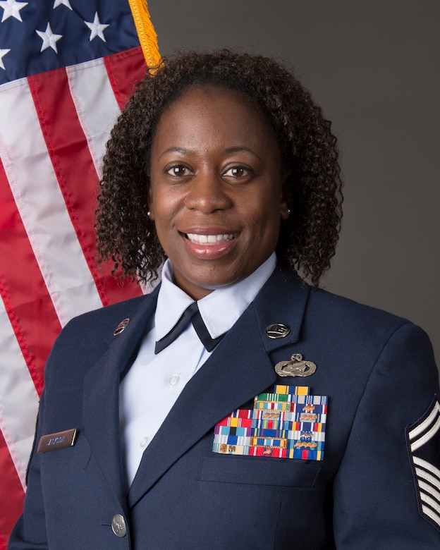 Senior Master Sgt. Venita Smith, assigned to the 107th Attack Wing, receives the NAACP Roy Wilkins Renown Service Award for 2020, Niagara Falls, N.Y., June 22, 2020. Smith is the Air National Guard recipient of the award which is presented annually to members of the armed forces in recognition of their efforts in promoting civil rights and epitomize the qualities and core values of their respective service. (U.S. Air National Guard photo by 107th Attack Wing)