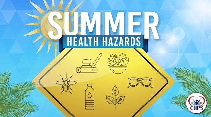 Graphics of summer hazards.