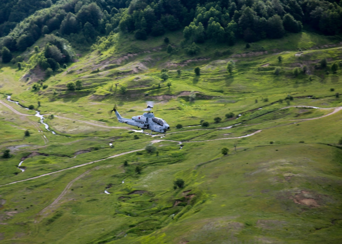 BIZE, Albania (June 22, 2020) A U.S. Marine Corps AH-1W Super Cobra assigned to Marine Medium Tiltrotor Squadron (VMM) 365 (reinforced), 26th Marine Expeditionary Unit (MEU), prepares to engage a target during routine sustainment training June 22, 2020. 26th MEU is conducting operations in U.S. 6th Fleet in support of regional allies and partners, and U.S. national security interests in Europe and Africa.