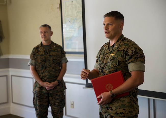 Maj. Jared Housand, an aviation assistant for officer procurement with 6th Marine Corps District, received the Navy and Marine Corps Commendation Medal at Traditions Aboard Marine Corps Recruit Depot Parris Island, South Carolina, on June 23, 2020.