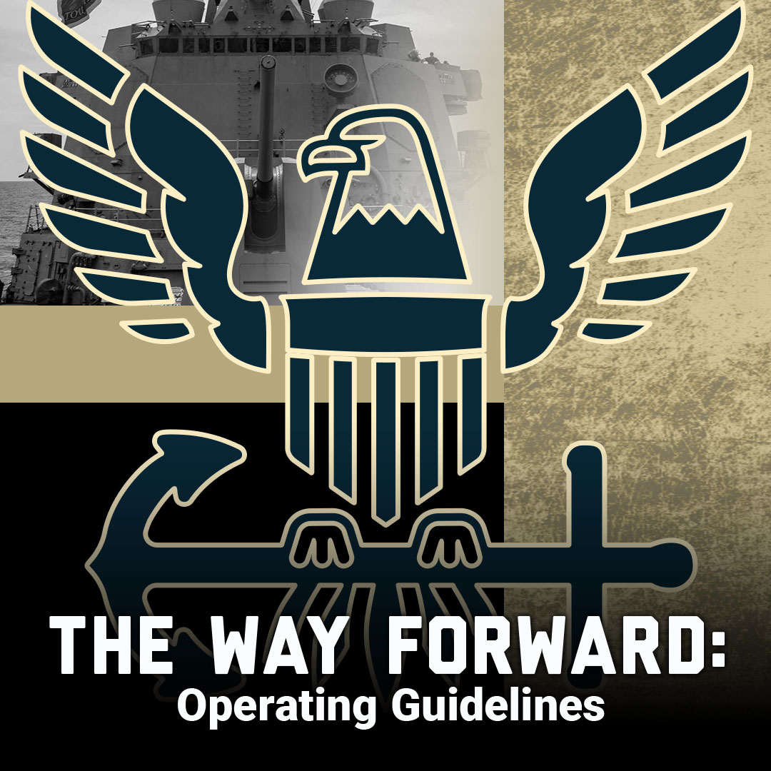 The way forward: Operating Guideilne thumbnail showing navy logo and black white picture of ship