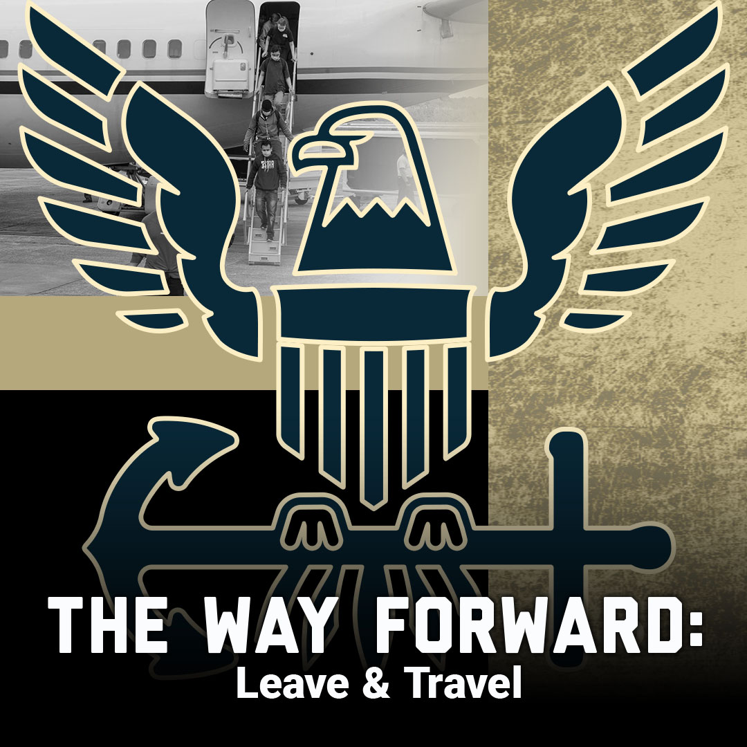 The way forward: leave and travel thumbnail showing navy logo and picture of Sailors leaving airplane